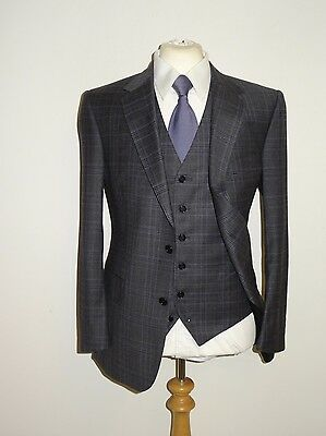 EDE & RAVENSCROFT Mens GREY 3 PIECE WOOL & CASHMERE SUIT - 40 Reg  W34 L36  BNWT