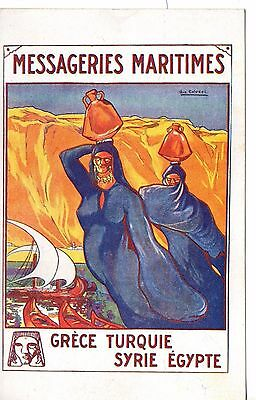 Great Greek shipping Poster P/card.Message Maritimes Official C1910. Imp Hermieu