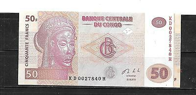 CONGO DR 2007 UNCIRCULATED 50 FRANC NEW BANKNOTE BILL note currency