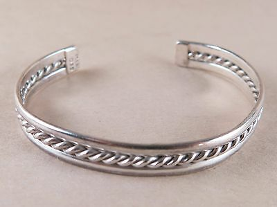 Sterling Silver Cuff Bracelet Twisted Rope Mexico 14.8g [3055]
