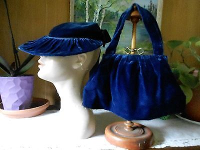 Vintage 1930's Blue Sapphire Silk Velvet Tilt HAT with Matching Purse  Fabulous