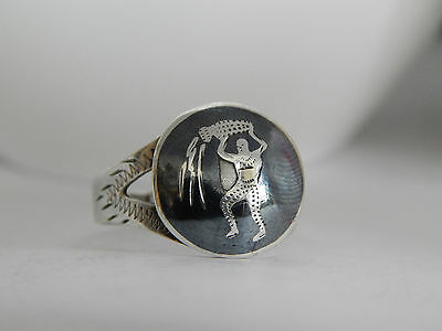 Siam Nielloware Sterling Silver Small Adjustable Signet Ring