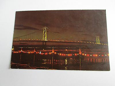 Postcard of The Forth Bridge, Scotland (at night) posted 1965