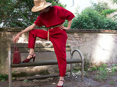 Nina Ricci Overall rot jumpsuit Viskose red shiny silky 90er True VINTAGE 90s