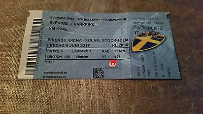 Used Ticket football WCQ 2017 06 09  Sweden France Free postage