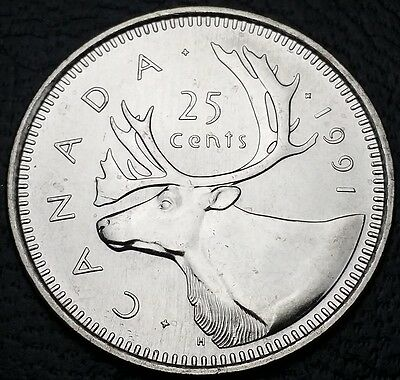 1991 Canada 25 Cents Quarter ***MS-64/65 Condition*** KEY DATE COIN
