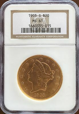 1903 S $20 Gold Double Eagle, NGC MS61