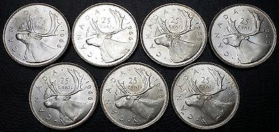 Lot of 7x 1966 Canada 25 Cents Silver Quarters - Great Condition - 80% Silver