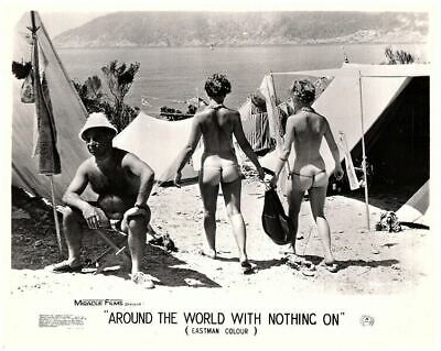 Around the World with Nothing On 1961 lobby card nudist movie nude girls camping