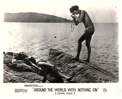Around the World with Nothing On 1961 nudist lobby card girls on beach