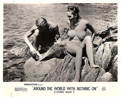 Around the World with Nothing on original lobby card nudist girl sitting on rock