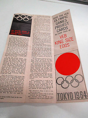 Save The Olympic Games Project Card By Veb King Size Eggs Tokyo 1964 Leaflet