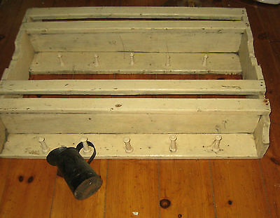 Excellent Antique Primitive Bowl Rack, Wall Cupboard Best Form Old Paint Aafa Nr