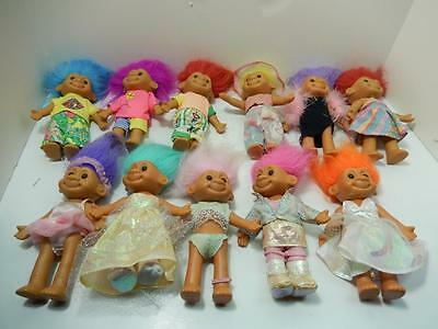 """Russ 7"""" Assorted Poseable Tracey & Travis Troll Lot Of 11"""