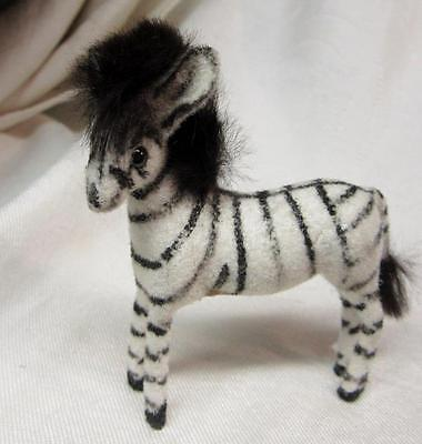 West Germany HANDWORK KUNSTLERSCHUTZ Flocked ZEBRA w Original Label   FREE SHIP