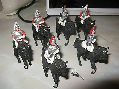 Group of 6 Britains Guards On Horseback All Plastic