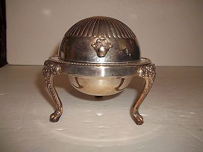 Vintage ROGERS 1883 SILVER PLATE LION FEET DOME ROLL TOP BUTTER PATE DISH SERVER