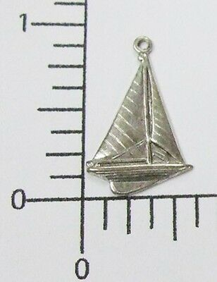 46284       4 Pc. Matte Silver Oxidized Small Sailboat Charm Jewelry Finding