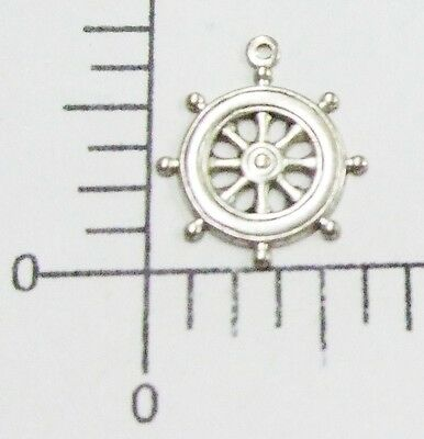46294        4 Pc Matte Silver Oxidized Ship's Wheel Charm Jewelry Finding