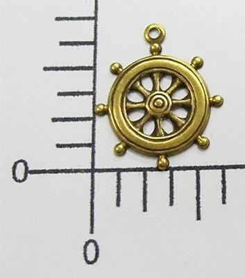46293       4 Pc Brass Oxidized Ship's Wheel Charm Jewelry Finding