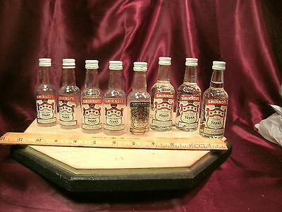 8 vtg miniature EMPTY Smirnoff Vodka 50ML Bottles-3 glass/5plastic-free ship