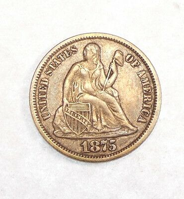 1875-CC Liberty Seated Silver Carson City Dime Mintmark above the Bow VERY FINE