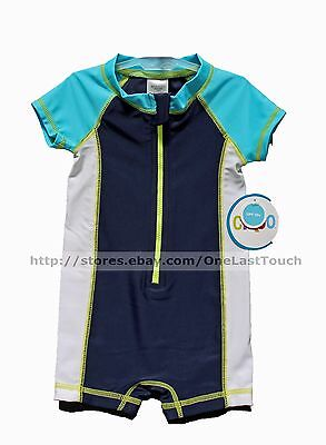 CIRCO Baby/Infant RASHGUARD 1pc Swim Suit BLUE+WHITE Small 0-6 Months BOY Upf 50