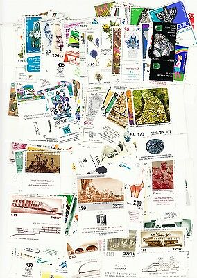 Israel Lot of 300 Different MNH with Tabs 1970s-1980s Mostly Commems