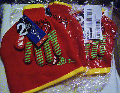 """Nwt (Lot Of 3) Kid's Hat & Gloves Sets By Grand Sierra """"football"""" Design Red Set"""