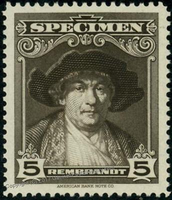 USA American Bank Note 5c Specimen Rembrandt Artist Painting Art Topical M 39188