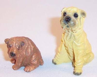 Lot of 2 Small Chinese Shar-Pei Sharpei Dog Resin Figurines