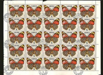 Liberia #687 Butterfly CTO Sheet of 25 Creased