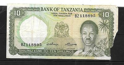 TANZANIA #2b 1966 AG CIRC OLD 10 SHILINGI OLD BANKNOTE PAPER MONEY CURRENCY NOTE