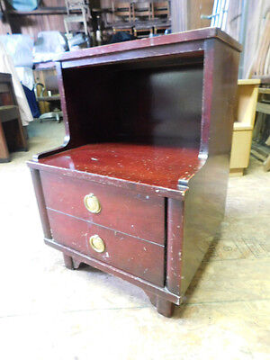 old vintage antique art deco mahogany bed side nightstand chest cabinet table