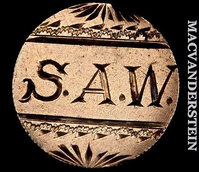 """Great Britain 3 Pence Love Token """"s.a.w."""" #o4262"""
