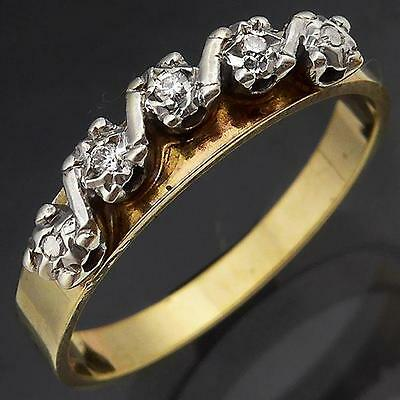 Classic Curved 3 DIAMOND 9k Solid Yellow GOLD ETERNITY RING Sz N
