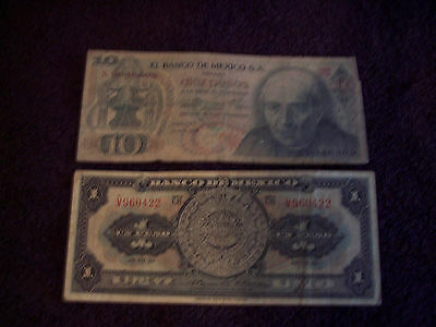 2 Vintage Mexico Banknotes - Different - 1950 & 1975