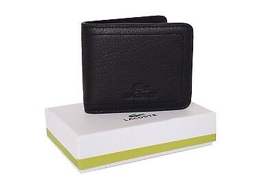 Lacoste Black Coin Pocket Wallet Genuine Leather New in Box