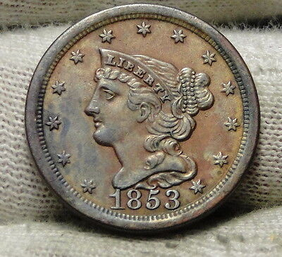 1853 Braided Hair Half Cent - Rare Only 129,694 Minted . Nice Coin (6208)