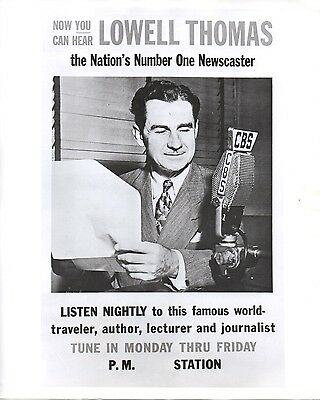 46554. Original ca 1945 CBS Radio Photo Newscaster Lowell Thomas Advertisement