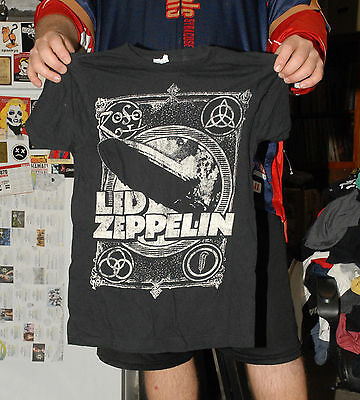Led Zeppelin T Shirt Small Distressed Art Robert Plant Jimmy Page Nm- Vg+