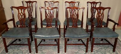 HICKORY CHAIR CHIPPENDALE DINING CHAIRS Mahogany Leather Studded VINTAGE Set/ 8
