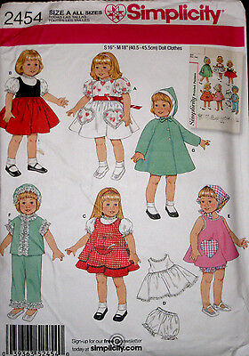"""Simplicity Baby Doll Wardrobe Clothes 16"""" 18"""" REPRO Sewing Pattern 2454 UC"""