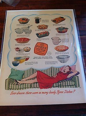 Vintage 1947 Pyrex Oven Ware Housewife Dreaming Of Pyrex Print ad