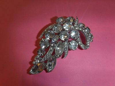 Magnificent Vintage Eisenberg Ice Brooch Gorgeous Clear Rhinestones Silver-tone