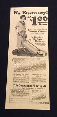 1922 Kleen-Well Vacuum Cleaner Print Ad - No Electricity, Cords Or Sockets
