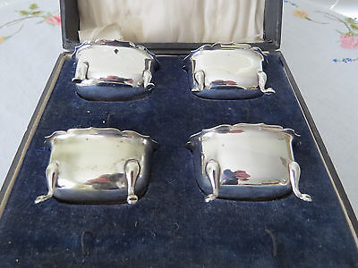 Antique Boxed Set Of 4 Salt Cellars With Cobalt Glass Liners