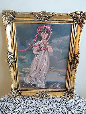 COMPLETED AND FRAMED UNDER GLASS **PINK BONNET LADY ** - TAPESTRY - pick up