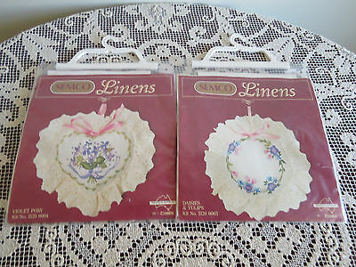 """2 Semco Linens Kits -"""" Daisies & Tulips""""  And """"violet Posy"""" -  As New"""