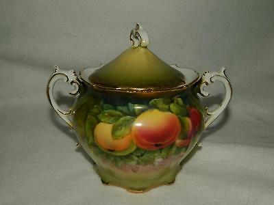 Hand Painted Signed Guillaume Fruit & Flowers Sugar Bowl Bavaria Antique Free Sh
